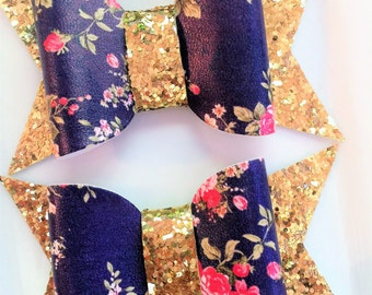LARGE  faux leather flower and glitter chunky bow set of 2