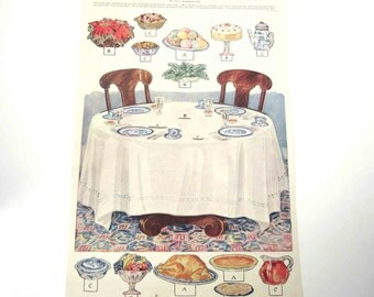 Vintage Uncut Sheet When Your Butterick Paper Dolls Have Dinner by Ella Dolbear Lee The Delineator Magazine