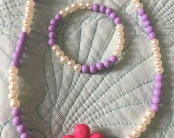 Purple pink coco rose pearl metal flower CHUNKY  kids children set  lilac lavendar purple spring easter layer cluster necklace & bracelet