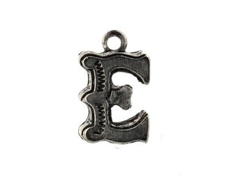 Letter E Initial Charm Small Lettering Silver Ox (4) CP321