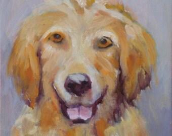 Dog Portrait// 6 x 6 Original Oil Painting