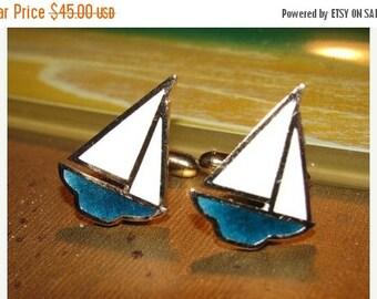 Sale Vintage 1970's Jewelry Men's Sailboat Cuff Links, Blue & White retro 70's Yacht Sailor fashion Naval design Nautical style sailboats 54