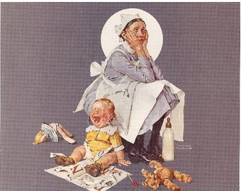 ON SALE Norman Rockwell Calendar Page, The Nanny, Crying Baby, Baby Bottle, Perfect for collage, mixed media and more