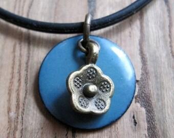 SALE Blue Enamel Necklace, Enamel Flower Necklace, Copper Enamel Jewelry, Delft Blue Necklace, Blue Jewelry