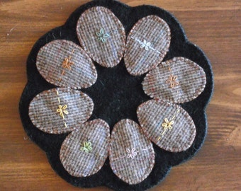 Easter Egg Penny Rug/ Candle Mat - Wool - Primitive