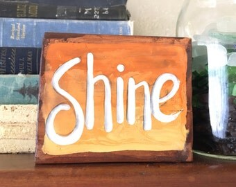 NEW Design Shine Beach Shelf Sitter Summer Vintage inspired Sign Ombre Yellow Orange Wood RUSTIC and Primitive Surfer Girl OOAK