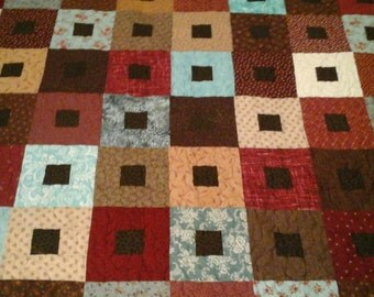 King size  red, turquoise,  brown and tan quilt