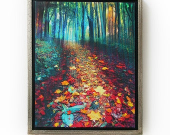 Where leaves gather, 18x22 Framed, tree art, #nature photography, autumn leaves, Signore, Art, hiking trails, #Michigan artist #Fall decor