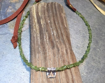 Peridot Necklace, Crystal Pendant Necklace, Leather Necklace, Layering Necklace