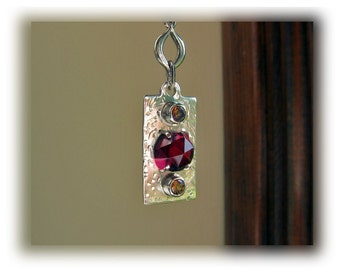Silver Dog Tag Necklace with Garnets