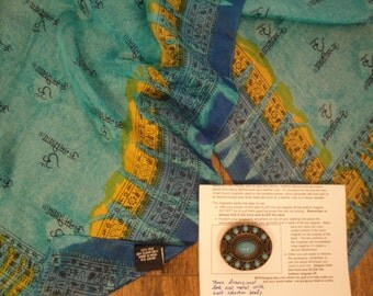 Vintage India Arts sheer silk 20 by 66 inch Scarf, Made in India, Ethnic Print, Teal, Golden yellow, blue, black, Bonus magnetic back brooch