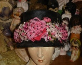 Beautiful Black Straw Bucket Hat Loaded With Pink Silk Flowers & Roses