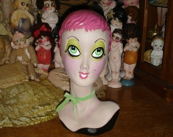 Pink Twiggy Blythe Mannequin Head One of a Kind Hand Painted Special Price