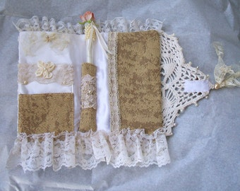 Handmade,Shabby Chic,Passport Cover,Brides,Honeymoon, Roses & Pearls,Doilies, Lace, Holds Passport, Credit Cards, Notebook