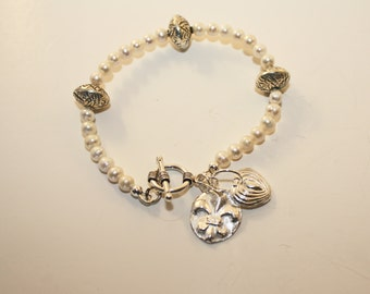 Silver Charms and Pearls Bracelet