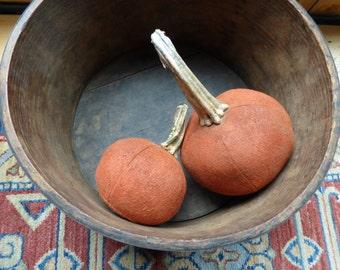 Folk Art Primitive Made Wool Harvest Pumpkins With Real Dried Pumpkin Stems