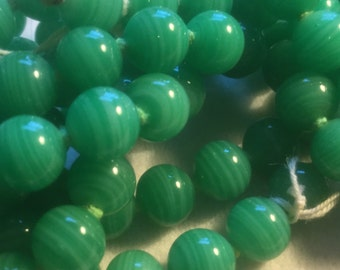 Vintage Glass Beads (24)(8mm) Handmade Japanese Shades of Green Beads