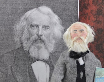 Henry Wadsworth Longfellow Art Doll Author and Writer Miniature