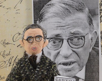 Jean Paul Sartre-  Philosophy Writer- French Authors-  Art Doll- Miniature Collectible