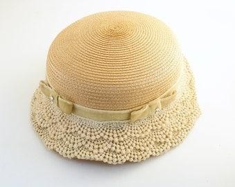Vintage Straw Hat Velvet Bows Lace