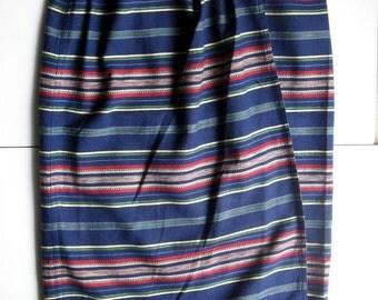 Vintage Wrap Skirt, Long Skirt, Sarong Skirt, Stripe Skirt, Summer Skirt, Women's Skirt, 1980's, Bohemian, Liz Wear