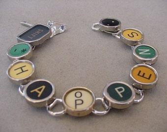 Typewriter Key Bracelet  SHIFT HAPPENS  Rare Aqua Colorful Typewriter key Jewelry