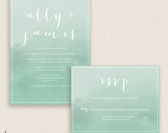 SAGE WATERCOLOR - DIY Printable Wedding Set - Invitation and Reply Card - Sage Green - Painted Watercolor