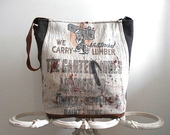 Work apron canvas leather tote, carryall bag - Akron OH Carter-Jones Lumber - eco vintage fabrics