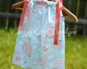 Girls Pillowcase Dress Spa Coral Floral with Peach Ribbon Ties Sz 6mo, 12mo, 18mo, 2T, 3T, 4T, 5 Sz 6, 7, 8 Three Dollars More