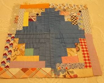 Antique Log Cabin Handstitched QUILT BLOCK Perfect for Framing Feedsack Blues, Prints Florals
