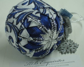 Royal Snowflake Quilted Christmas Ornament READY TO SHIP Sale