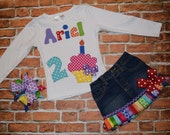 Crayon Rainbow NAME & Birthday Cupcake Tee and RIBbON FRINGE denim skirt/ jeans/ shorts/ capris sizes 0-3-6-9-12-18-24 mth -2-3-4-5-6-7-8