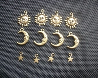 12 Assorted Sun, Moon and Star Charms