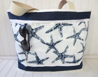 Beach Bag -  Starfish - Starfish Beach Bag - Beach Tote - Summer Outdoors - Large Beach Bag - Starfish Wedding