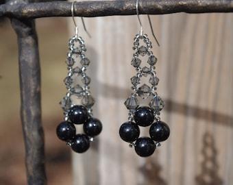 Black Swarovski Elements Pearl and Crystal  Prom Bridal Wedding Chandelier Earrings