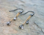Herkimer Diamond Oxidized Sterling Silver and 14KT Gold Filled Handmade Earrings, Minimalist Jewelry, Mixed Metal Earrings