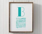 PRINTABLE Monogram Letter b, Wall Art, ABC wall art, Nursery Decor, printable b poster, kids room wall art, alphabet art, playroom art