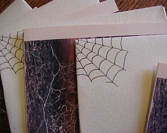 CReepy SALe~~were 4.00~~Now 2.75~~4 HALLOWEEN PARTY INVITATIONS~W/Envelopes~Creepy w/Spider Webs~Scary~One of a Kind~It's Party Time!
