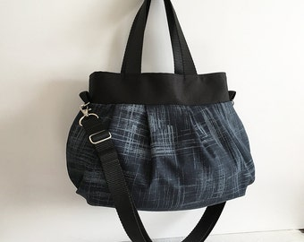 Cross Body Pleated Bag (SMALL or MEDIUM) w/ Adjustable Strap - Painters Canvas in Charcoal