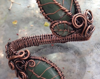 Woven wire wrapped natural Green Aventurine leaf cuff bracelet