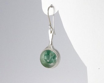 Sterling Silver and Fluorite Orb Earrings - E2370