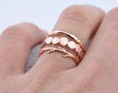 40% Off Vermeil Sale Rose Gold Pebble Raw Twig Ring Set|  Stacking Rings Set| Vermeil Rings