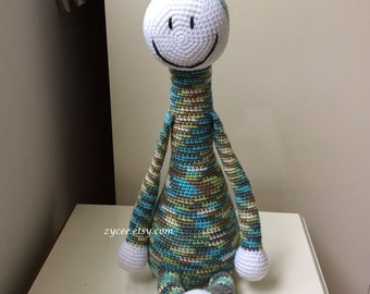 Crochet Giraffe Green Blue mixed color, Amigurumi toy animal children