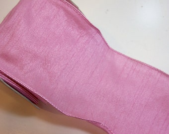 Pink Ribbon, Offray Anisha Wired Fabric Ribbon 4 inches wide x 10 yards, Full Bolt of Rose Water Pink Ribbon