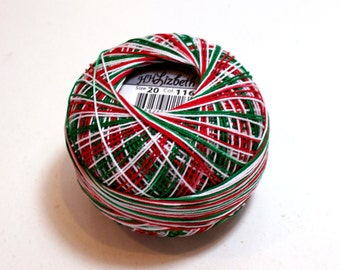 Tatting Thread, Lizbeth Size 20 Cotton Crochet Thread, Christmas Delight, Color number 116, Variegated Thread