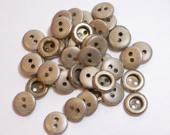 Silver Buttons, Silvertone Metal Buttons x 40 pieces 7/16 inch (11 mm) diameter, 2 Hole Buttons