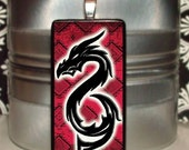 60% OFF CLEARANCE Tribal Dragon dark red Bamboo Tile Pendant (MIN126)