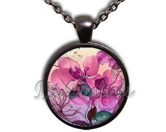 20% OFF - Flowers Pink Hues Glass Dome Pendant or with Chain Link Necklace NT134