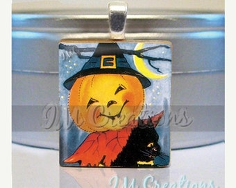 60% OFF CLEARANCE Halloween Scrabble tile pendant - Merry Pumpkin (HAL136)