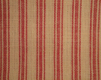 FLAWED Ticking Material | Red Stripe Material | Homespun Material | Homespun Ticking |  Quilt Material | Sewing Material | 24 x 44